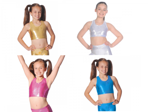 Roch Valley Crop Top Shiny Metallic Nylon Lycra Dance Gymnastics Freestyle